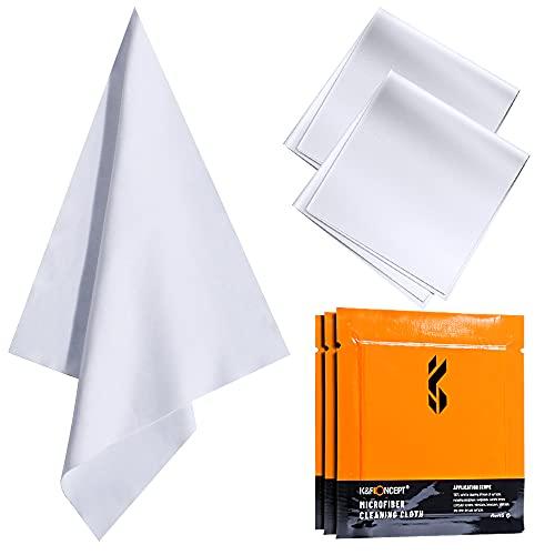 K&F Concept-3 Piezas Paños Limpieza de Microfibra Envasado al Vacío/Secos/Lavables/15×15cm para Gafas/Pantallas/Objetivos/Lentes/PC, Gamuza Gafas, Toallitas Gafas,Bayeta Gafas