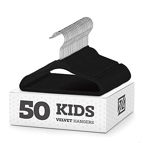 """ZOBER Premium Kids Velvet Hangers (14"""" Inch - 50 Pack) Non-Slip..."""