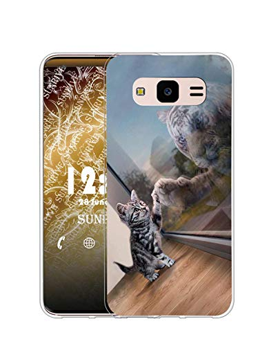 Sunrive Cover Compatibile con Samsung Galaxy Core Prime, Custodia Case in Molle Trasparente Silicone Morbida Flessibile AntiGraffio Protettiva Back custodie(Q Gatto 3)