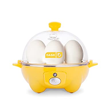 Dash Rapid Egg Cooker: 6 Capacity Electric for Hard Boiled Poached Scrambled Omelets, Auto Shut Off Feature, Yellow