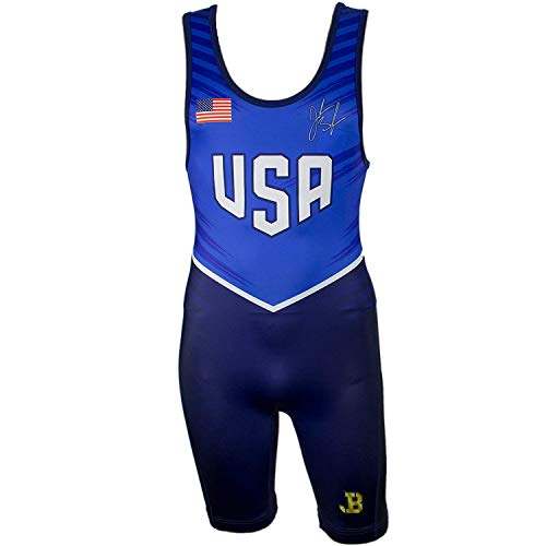 ASICS Mens JB Elite Competition Wrestling Singlet Wrestling Athletic Sport Equipment Singlet, Blue, XL
