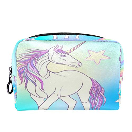 Cosmetic Bag Womens Makeup Bag for Travel to Carry Cosmetics Change Keys etc,with Unicorn with Color Pink Purp
