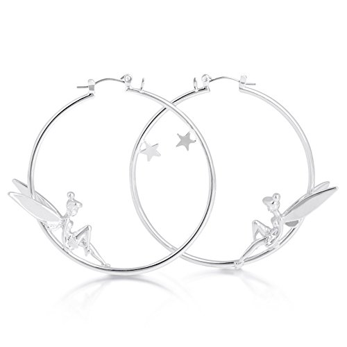 Disney White Gold-Plated Tinkerbell Fairy Hoop Earrings by Couture Kingdom