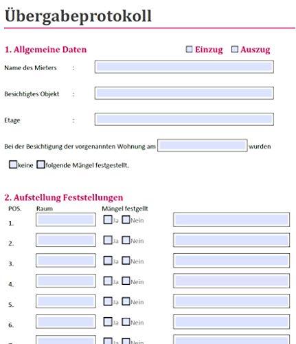 PRIXUS: Vermieter- Formulare zum Download als ausfüllbare PDF Formulare (Übergabeprotokoll)