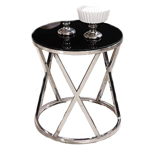 QLJJSD Round Side End Table with Marble Top & Metal Base, Modern Bedside Small Coffee Table for Bedroom Living Room (Color : Silver Black, Size : 50x55CM)
