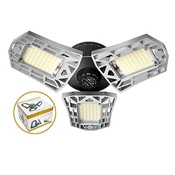 LED Garage Lights Motion Activated 60W Deformable LED Garage Lights 6000LM LED Shop Lights LED Garage Light Motion Sensor Garage Lights with 3 Adjustable Panels