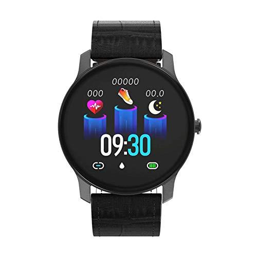 Pulsera de actividad inteligente con pantalla táctil de 1,3 pulgadas, monitor de presión arterial/frecuencia cardíaca, recordatorio de sedentarismo, pulsera deportiva para hombre y mujer, color negro