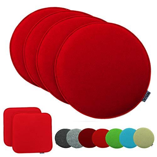 heimtexland  Set di 4 cuscini per sedia, in feltro, rotondi, 35 cm, colore rosso, tipo 631