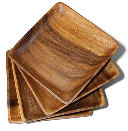 """Wooden Plates, Set of 4 Wood Plates for Food, Handcrafted of Acacia Hardwood, Versatile Tableware, use for Dinner, Lunch, Breakfast, as Charger Plates, Serving Trays, Large 10"""" x 10"""""""