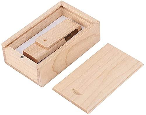 Yaxiny - Chiavetta USB in legno d'acero 2.0 e 3.0, con scatola di legno (2.0/8 GB)