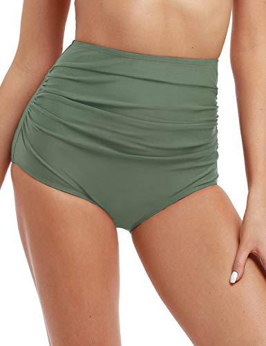 Hilor Women's High Waisted Bikini Bottom Shirred Hispter Tankini Briefs Swim Shorts Army Green 20