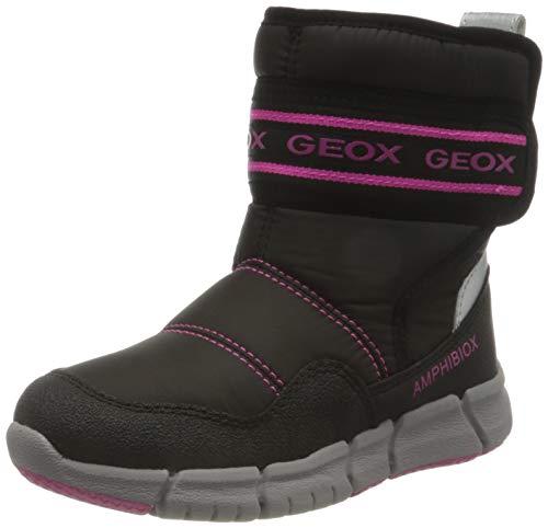 Geox J FLEXYPER Girl B AB Snow Boot, Schwarz (Black/Fluo Fuchsia), 33 EU