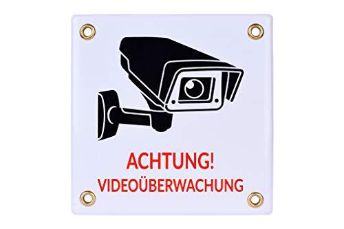 Achtung VIDEOÜBERWACHUNG Schild 12x12 cm | wetterfest Emailschild | Kameraüberwachung – Überwachungskamera – Alarmanlage – Warnschild