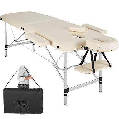 tectake 800532 - Lettino da Massaggio a 2 Zone, in Alluminio, di Imbottitura + Borsa - diversi Colori (Beige | No. 402787)