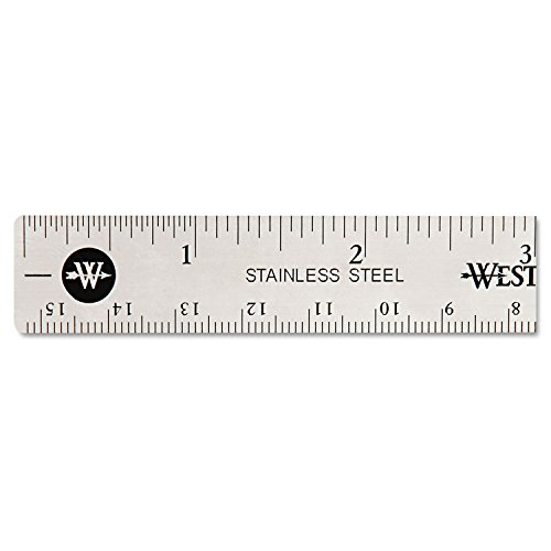 Westcott 10414 Stainless Steel Office Ruler with Non Slip Cork Base, 6-Inch