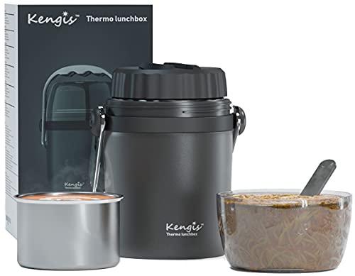 Kengis - Contenitore termico per cibo, cereali da portare via, gelato, alimenti per bambini, cibi caldi, zuppe, da 1 l, Contenitore termico in acciaio inox di alta qualità, termico (grigio)