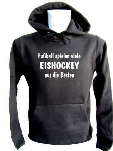 ShirtShop-Saar Fussball Spielen viele - Eishockey Kapuzen-Pulli schwarz, Gr. M