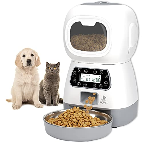 FIOVIEL Automatic Cat Feeder, 3.5L Pet Food Dispenser for Cats and...
