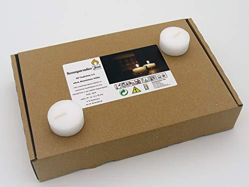 Kerzenparadies Jess 48 Teelichter Weiß ohne Alu Hülle, Rohlinge, Nachfüllpack, 4 Stunden Brenndauer, ohne Duft, ohne Aluhülle - Kunststoffhülle, ohne Folie, für Glasbehälter