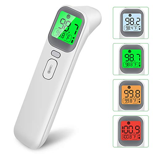 Infrared Forehead Thermometer Non-Contact Digital Thermometer for Adults with Instant Accurate Reading Ear Thermometer for Kids Alarm and Memory Function Baby Fever Check Thermometer