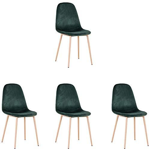 N/A - Juego de 4 sillas de comedor de terciopelo acolchadas con diseño retro y patas de metal