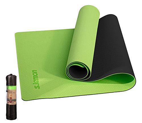 s.lemon Antideslizante TPE Esterilla Yoga,Alfombrilla Pilates Esterilla Deporte Esterillas de Yoga con Bolsa 183 x 61 x 0.6 CM