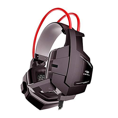 Headset Gamer C3Tech PH-G11BK Sparrow Preto - Com Microfone Driver de 40mm Conector P2 3.5mm Áudio Stereo, Grande