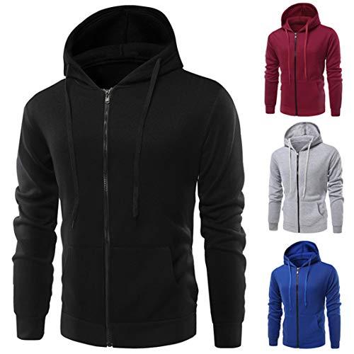 MENHG Men's Hoodies Sweatshirts Full Zip Drawstring Solid Color Hoody Hooded Top Fleece Long Sleeve Jacket Mens Winter Fleece Warm Pullover Running Gym Workwear Coats Cardigan With Kangaroo Pocket