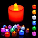 jesilo Light Candles Set of 6 Pcs Electrical Diya Candles Battery Operated Colored