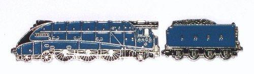 Anstecker, Metal Pin Badge aus emailliertem Metall Motiv Zug Dampfmaschine Mallard Blau