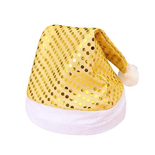 Higlles Weihnachten Erwachsene Pailletten Weihnachtsmütze Winter Warm Unisex Weihnachtskostüm Accessoires (Gold, 36 x 28cm)