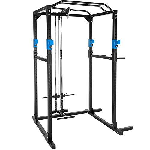TecTake Cage Station de Musculation Mulitfonction, avec Barres à Dips emboîtables, Barre de Traction