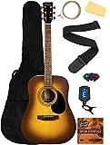 Barcelona D500 Acoustic Guitar - Sunburst Bundle with Gig Bag, Strings, Tuner, Strap, Picks, Fender Play Online Lessons, Instructional DVD, and Austin Bazaar Polishing Cloth
