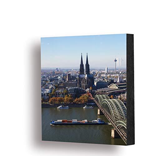 Köln-Bild - Köln von oben (farbig) 10x10cm, MDF, Deko, Geschenk, Kölngeschenk, Cologne, Holz, Kunst