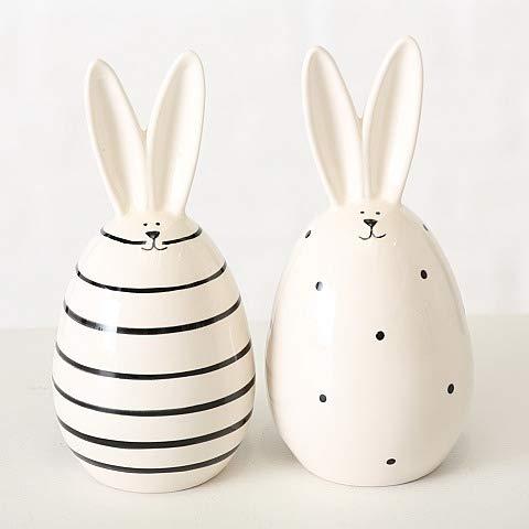 Osterdeko Black & White Hasenei 2er Set Osterhase Osterei schwarz weiß Porzellan modern ausgefallen Ostern Dekoration Tischdeko Hase Eier Deko