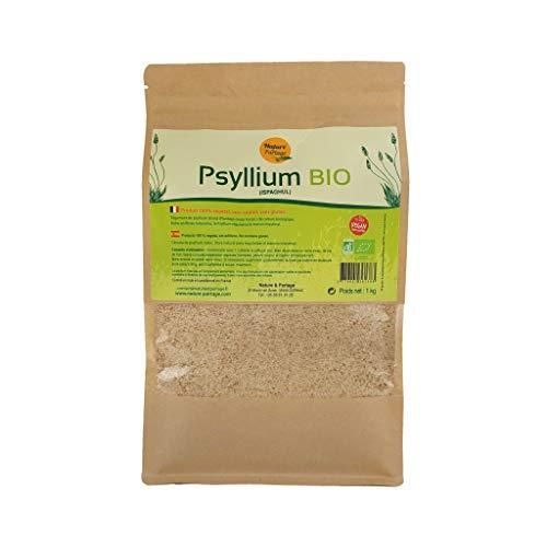 Nature & Partage Cáscara de psyllium (ispaghula) orgánica, 1 kg, fibra para regularizar el tránsito intestinal