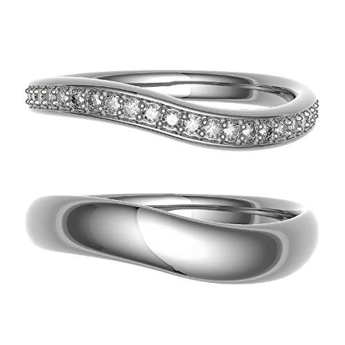 [ココカル]cococaru ペアリング 結婚指輪 シルバー 2本セット マリッジリング ダイヤモンド 日本製(レディースサイズ11号 メンズサイズ1号)