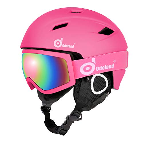 Odoland Snow Ski Helmet and Goggles Set for Kids and Adult...