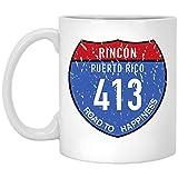 Rincon - Puerto Rico Road to Happiness 413 11 oz. White Mug