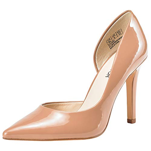 JENN ARDOR Stiletto High Heel Shoes for Women: Pointed, Closed Toe Classic Slip On Dress Pumps Nude 6.5