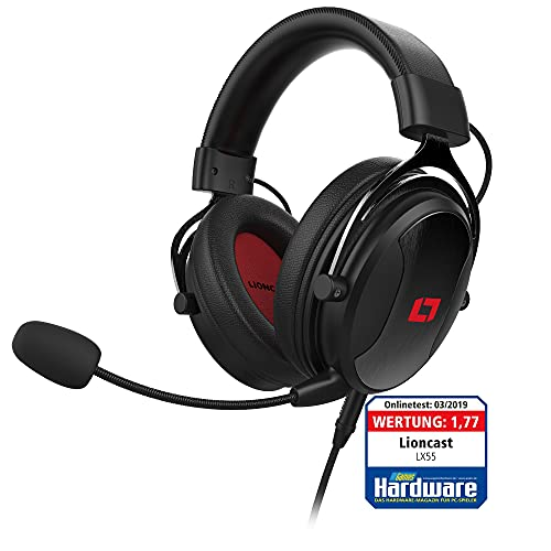 Lioncast LX55 Over-Ear Gaming Headset - Gamer Headphones with Microphone, Memory Foam Ear Cups, Adjustable Metal Headband, 53mm Neodymium Sound Drivers - Compatible with PS5, PS4, Switch, Xbox, Mobile