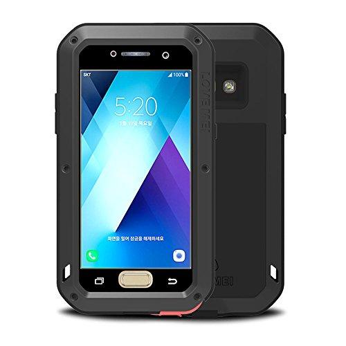 Galaxy A5 2017 Funda, Love Mei Antichoque Al aire libre Tarea pesada Híbrido Aluminio Metal Armadura Antipolvo Carcasas para Samsung Galaxy A520 con protector de pantalla de vidrio templado (N