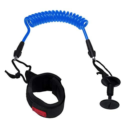 HONUTIGE Surfboard Leash, Coiled Bodyboard Leash, Adjustable Size Surfing Leash with Padded Wrist/Ankle Strap, Surfing Accessories Safety Equipment for Surfboard Longboard Bodyboard