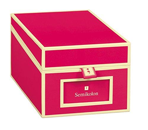 Semikolon (352641) Visitenkarten-Box mit Registern in pink (rosa) - Bussiness-Card-Box - Alternative zu Visitenkartenmappe, Karteikasten