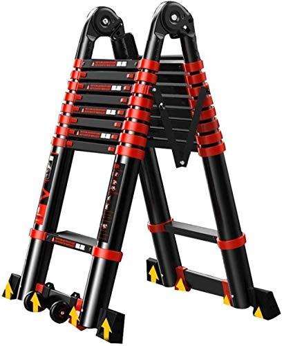 Escada de extensão, multifuncional, dobrável, escada, telescópica, de alumínio, escada, para ambientes externos, 4,9 m-4,1 m