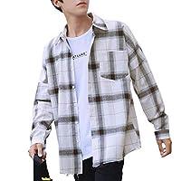 シャツ メンズ 长袖 ギンガムチェック チェックシャツ おしゃれ カジュアル 秋冬 シャツ (L, A)
