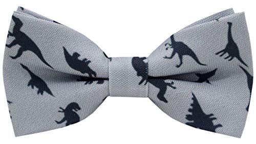 Carahere Little Boy's Handmade Pre-Tied Patterned Bow Ties For Kids (One Size, Grey dinosaur pattern)