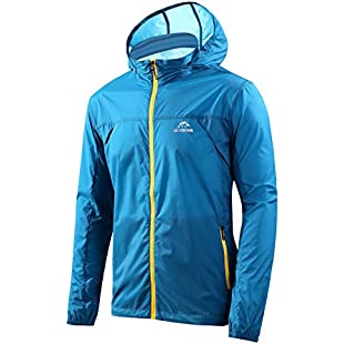Men's Windbreaker Cycling Skin Coat Jersey Bicycle Lightweight Jacket Windproof Jacket Rain Coat Ultra Light Jacket Outer Softshell for Hiking Cycling Outdoor (XL, Sky Blue):Hitspoker