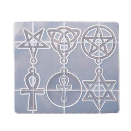MUMING Magic Hexagram Spiritual Amulet Pendant Resin Casting Mold Celtics Pentagrams Pentacle Star Mold Jewelry Making Tools