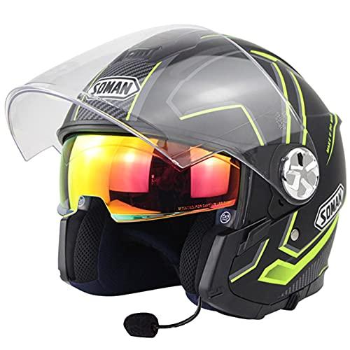 ZLYJ Casco Jet De Motocicleta Bluetooth con Visera para El Sol Casco Protector De Medio Casco De Motocicleta Vintage para Respuesta Automática, Aprobación ECE C,S(52-53cm)